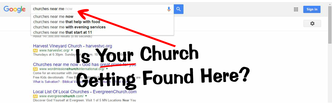 example of church-related search in Google